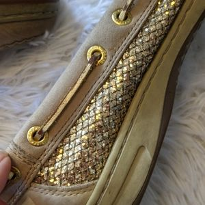 Sperry Shoes - Gold Mermaid Scale Sperry Topsiders